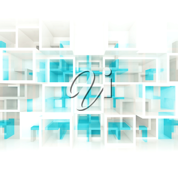 Abstract digital background with white and blue chaotic square cells structure on front wall, selective focus effect, 3d illustration