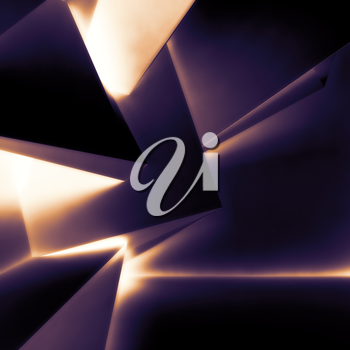 Abstract dark digital background, chaotic polygonal structure with glowing pattern, 3d render illustration