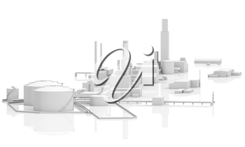 Abstract modern industrial facility. Tanks, chimneys and buildings, 3d model isolated on white with reflections, bird eye view