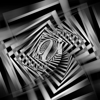 Abstract black and white spirals pattern, cg optical illusion, square 3d illustration