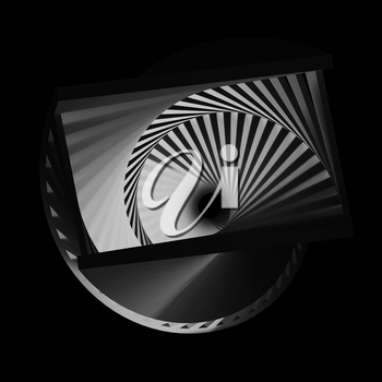 Abstract dark spirals pattern, cg optical illusion, 3d render illustration