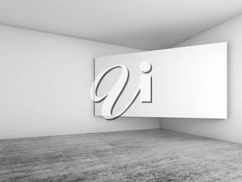 Abstract empty white interior background, blank screen banner mounted in the corner, architecture design. 3d illustration