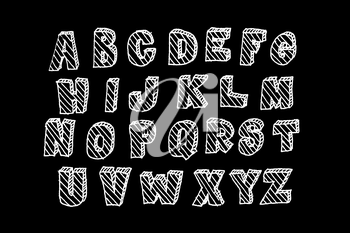 Hand drawn volumetric abc with hatching, doodle style. White letters over black background, sketch illustration