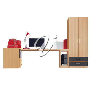 Office furniture set with computer, lamp, boxes for papers and folders all of the last three positions made in red colors. 3d graphic object on white background isolated