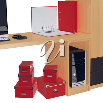 Half of the computer table with red document folder on it, PC case in it and red colored paper boxes under it. 3d graphic object on white background isolated