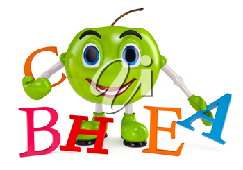 Green apple. Apple character. Apple with letters vitamins white background