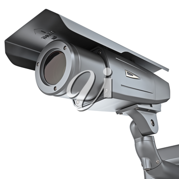 Metal surveillance cameras. Video camera security isolated on a white background