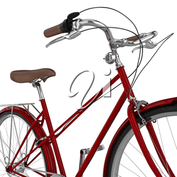 Handlebar red chrome bike with studded tires and hand brakes. 3D graphic object on white background