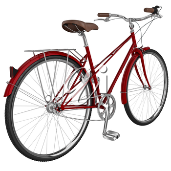 Classic bike vinous chrome luggage and leather classic saddle. 3D graphic object on white background isolated