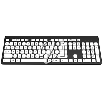 Buttons white. Black Keyboard komputer. Buttons with symbols, letters, numbers. 3D graphic object on white background isolated