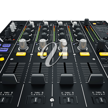 Dj mixer with glowing yellow-blue buttons white background. 3D graphic