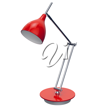 Red metal lamp with extended dome-like top part. 3d graphic object on white background isolated