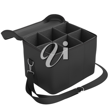 Open black bag with a black strap on a white background