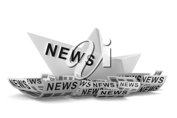 Paper boat as a symbol of a lot of news. Conceptual boat isolated on white background