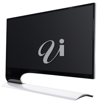 Black and white monitor with high definition matrix in futuristic design. 3d graphic object on white background isolated
