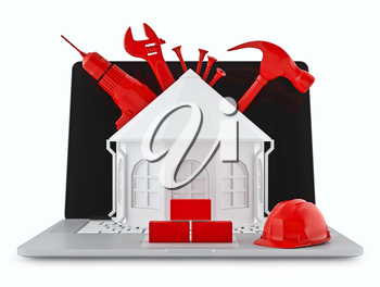 House with building tools on a laptop. Red construction tools white background