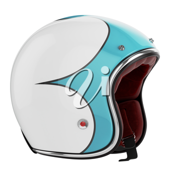 Motorcycle helmet turquoise white. Motorcycle helmet old fashioned. Helmet on a white background