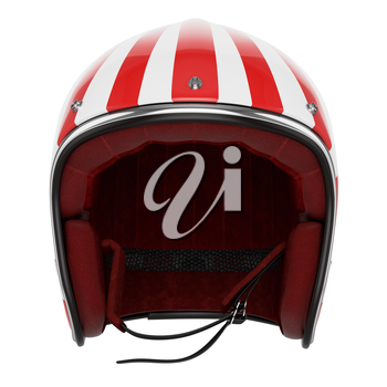 Motorcycle helmet red white striped. Helmet classic style. Helmet front view.