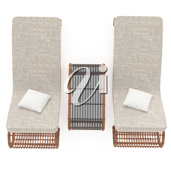 Comfortable rattan chairs complete with a table on a white background isolated. 3D graphics