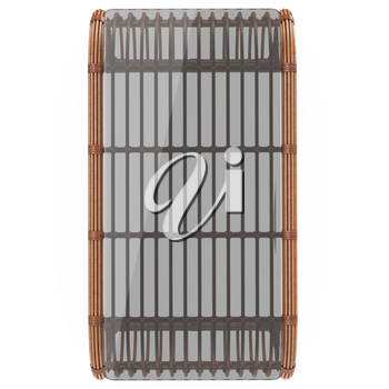Rattan dark rattan table with glass top on a white background isolated. 3D graphics