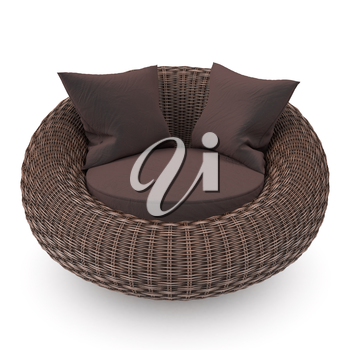 Rattan chair front view with soft pillows, on a white background