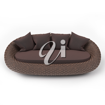 Rattan sofa front view with soft pillows, on a white background