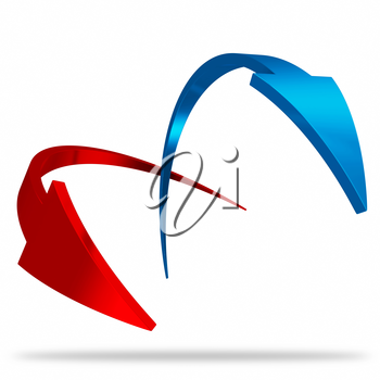 Awesone looking 3d glossy red and blue arrow