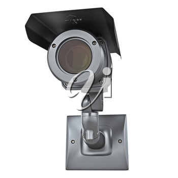 Video surveillance camera security protection on white isolated background