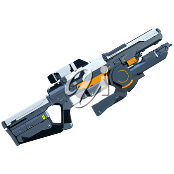 Futuristic assault weapon placed on white background