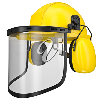 Hearing protection, helmet, mask isolated on a white background