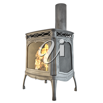 Modern fireplace with a chimney and fire on a white background isolated side view. 3D graphics