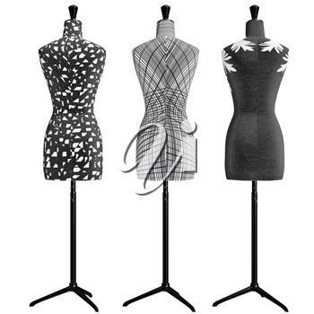 Female mannequins on the leg with black and white ornament, back view. 3D graphic object on white background isolated