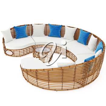 Sofa and table with rattan. 3D graphic object on white background isolated