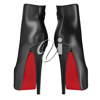 Black leather shoes on high heels, back view. 3D graphic object on white background isolated