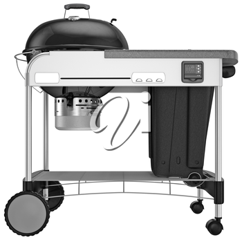 Roll-metallic charcoal grill with a side view of an electronic sensor. 3D graphic object on white background isolated