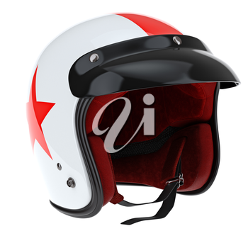 Protectors for sports motorcycle helmet. 3D graphic object on white background isolated