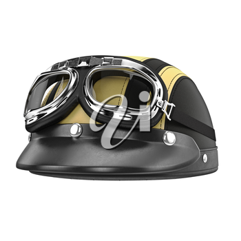 Motorcycle helmet with goggles and a visor. 3D graphic object on white background isolated