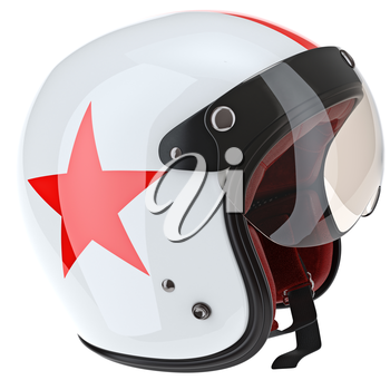 Glass glossy protection for aviation helmets. 3D graphic object on white background isolated
