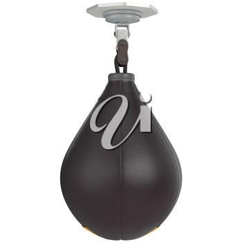 Speed punching bag, front view. 3D graphic object on white background isolated