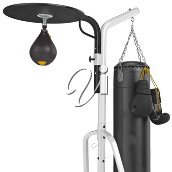 Punching bag with gloves, close view. 3D graphic object on white background