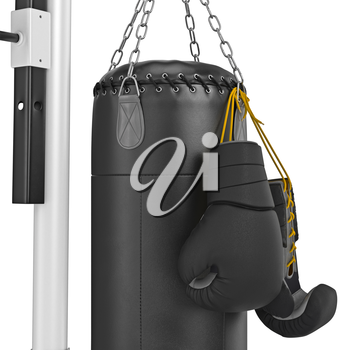 Boxing gloves hanging on punching bag, zoomed view. 3D graphic object on white background