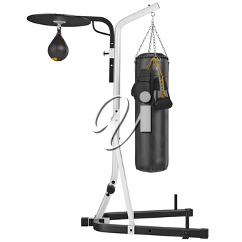 Set punching bag, side view. 3D graphic object on white background isolated