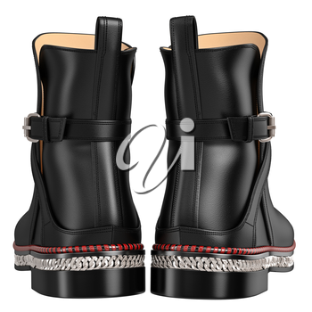 Men's leather black boots, back view. 3D graphic object on white background isolated