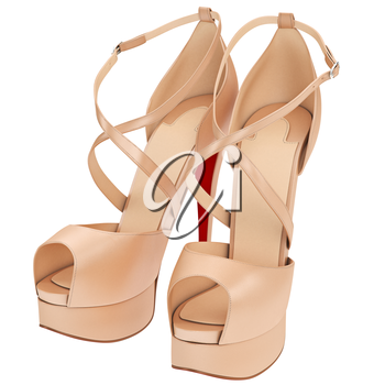 Women's beige leather sandals with heels. 3D graphic object on white background isolated