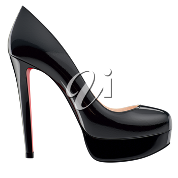 Black patent leather shoe on high heels, side view. 3D graphic object on white background isolated