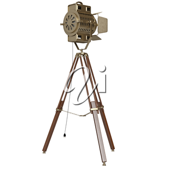 Yellow searchlight with tripod. 3D graphic object on white background isolated