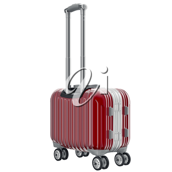 Metal luggage red. 3D graphic object isolated on white background