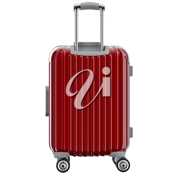 Luggage on wheels red, back view. 3D graphic object isolated on white background