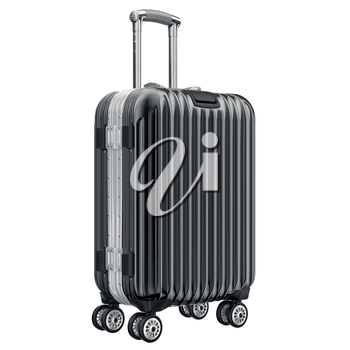 Big black luggage. 3D graphic object isolated on white background