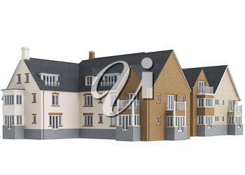Big house cottage. 3D graphic isolated object on white background
